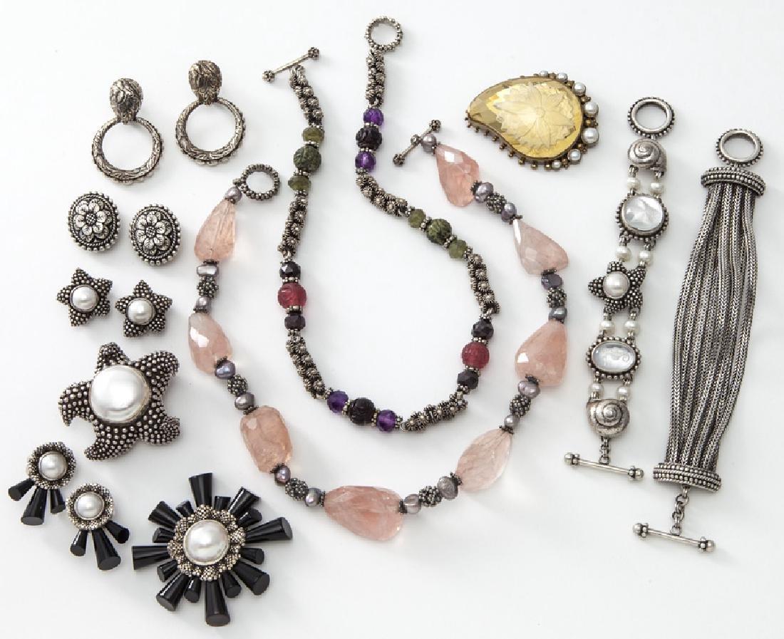 11 Pcs. Stephen Dweck semi-precious jewelry.