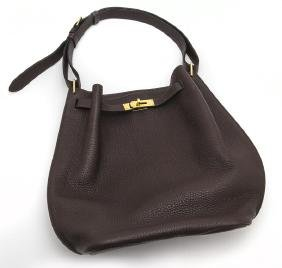 Hermes 26 cm chocolate clemence So Kelly shoulder