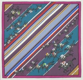 "Hermes ""Les Courses"" silk scarf"