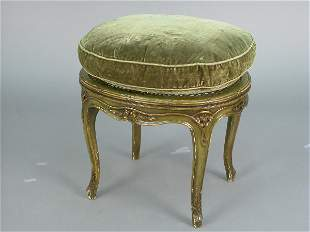 Louis XVI style footstool with cane seat, verde