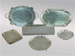 (6) Assorted silverplate trays including gallery