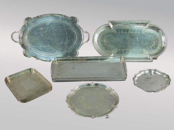 4: (6) Assorted silverplate trays including gallery