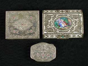 """3pcs. Miniature silver cases. (1) 3"""" Engraved and"""