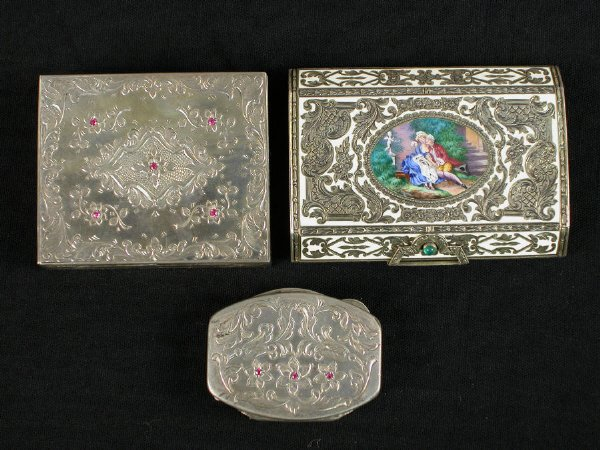 """5: 3pcs. Miniature silver cases. (1) 3"""" Engraved and"""
