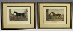 Pair of English antique racing engravings after