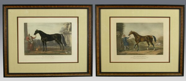 9: Pair of English antique racing engravings after