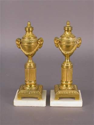 """Pr. 8"""" Gilt bronze cassolettes - fluted column"""