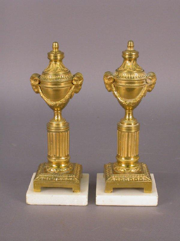 """14: Pr. 8"""" Gilt bronze cassolettes - fluted column"""