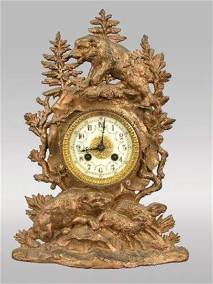 Black Forest-style mantle clock with metal case