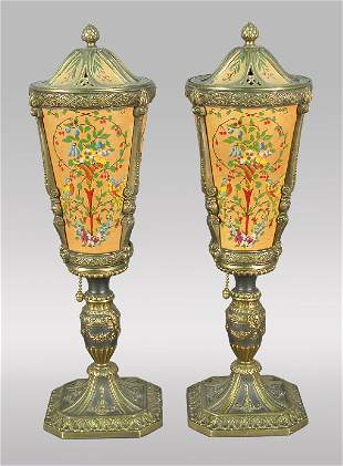 Unusual pair of urn shaped bedside