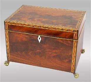 19thC. English flame mahogany work box