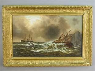 English school marine oil on canvas landscape in