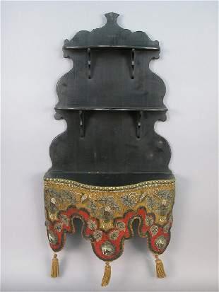 Victorian 3-tier shelf with beaded skirt