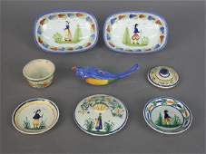 31: (8) pcs. Quimper French faience- incl. (2) doll