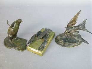 3pcs. Bronze animals. (1)Barye re-strike of a