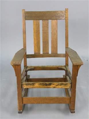 Marked Gustav Stickley rocking chair, with open