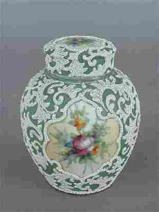 A Moriage ginger jar, double lidded, with a mint
