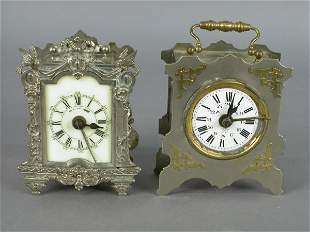 2pcs. French alarm clocks, silver over