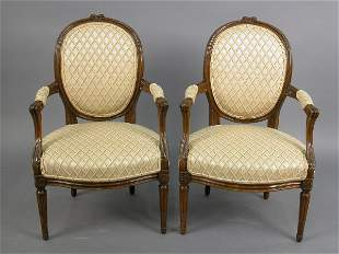 Pair of Louis XVI style Cabriolets with oval