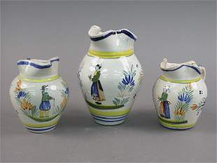 3pcs. Marked Henriot Quimper French