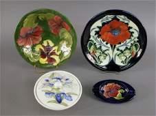 72: 4pcs. Marked Moorcroft, pottery. (1) Covered dish