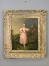 134: Unattributed oil on canvas portrait of a young