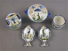 341: (5) pcs. Quimper French faience including - (1)