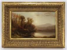 "William M. Hart ""Early Sun, Lake George"" oil on"