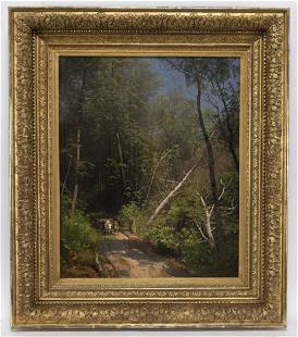 """Hermann Herzog """"In the Woods"""" oil on canvas, 1902."""