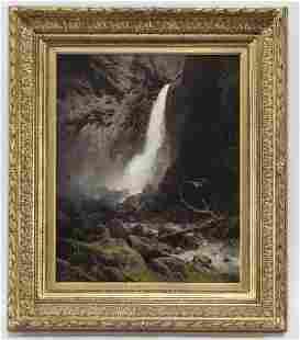 """Hermann Herzog """"Lower Yosemite Falls"""" oil on"""