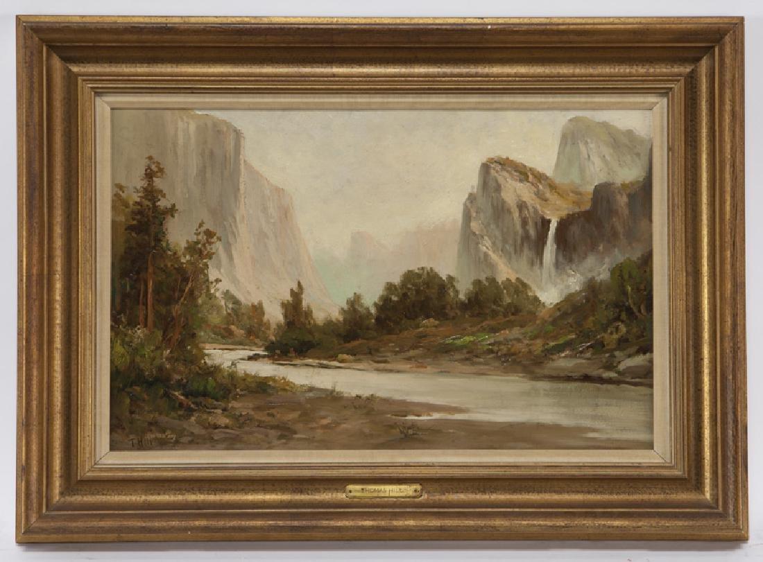 "Thomas Hill ""Yosemite (Bridal Veil Falls)"" oil on"