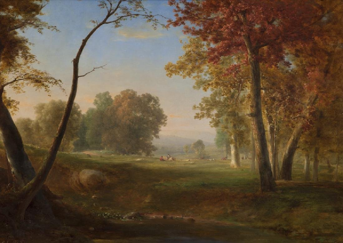 "George Inness ""Pastoral Landscape"" oil on canvas,"