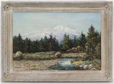 """Robert Wood """"Untitled (Mountain stream)"""" oil on"""