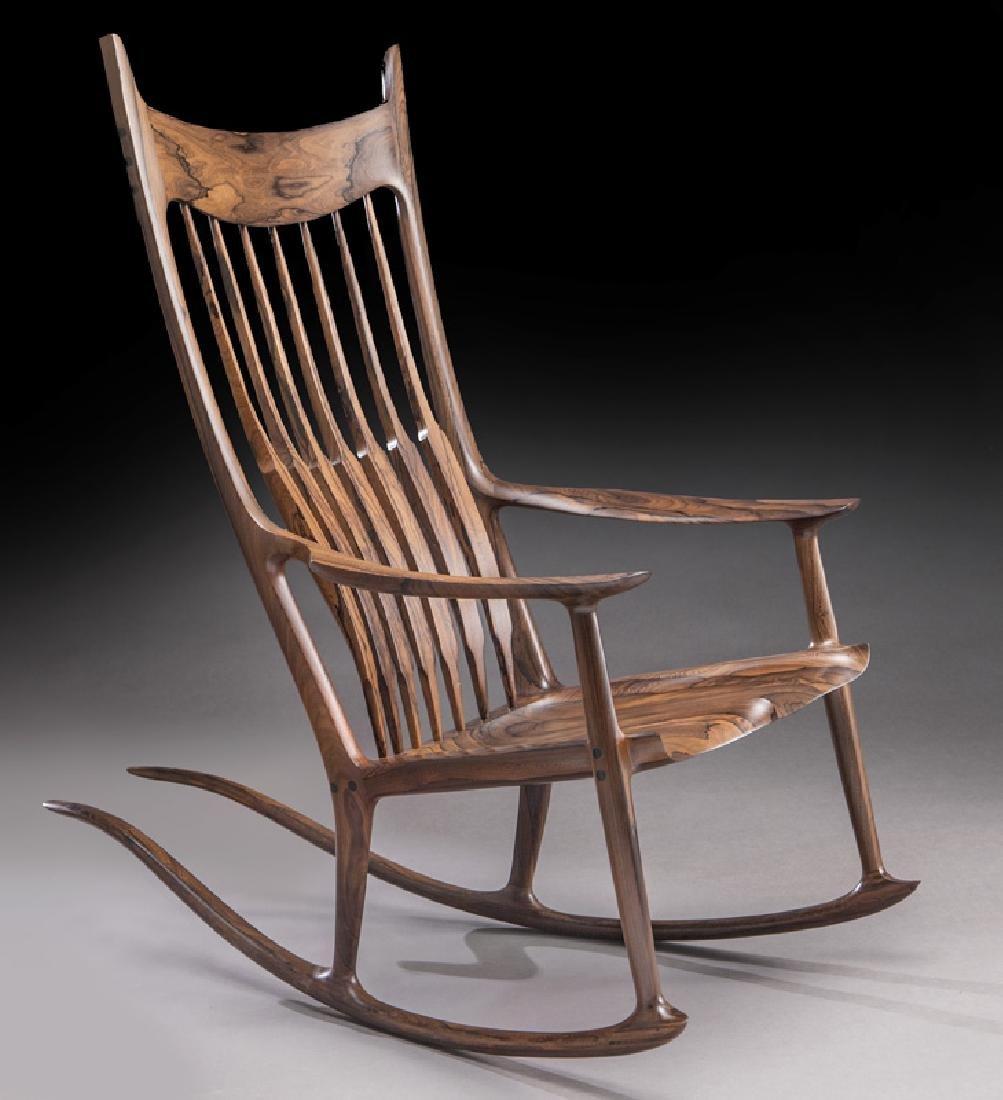 Sam Maloof rosewood long tailed rocking chair.