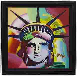"Peter Max ""Liberty Head"" acrylic on canvas, 2002."