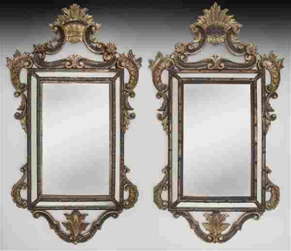 Pr. Italian carved giltwood mirrors,