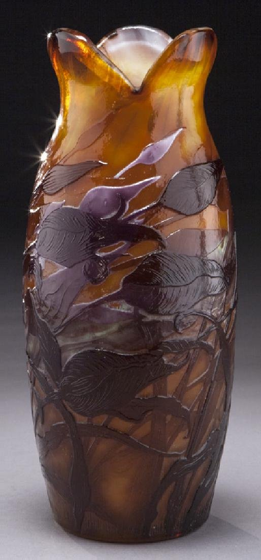 Rare Galle fire polished art glass vase,