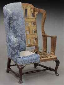 Early Boston area walnut wing chair