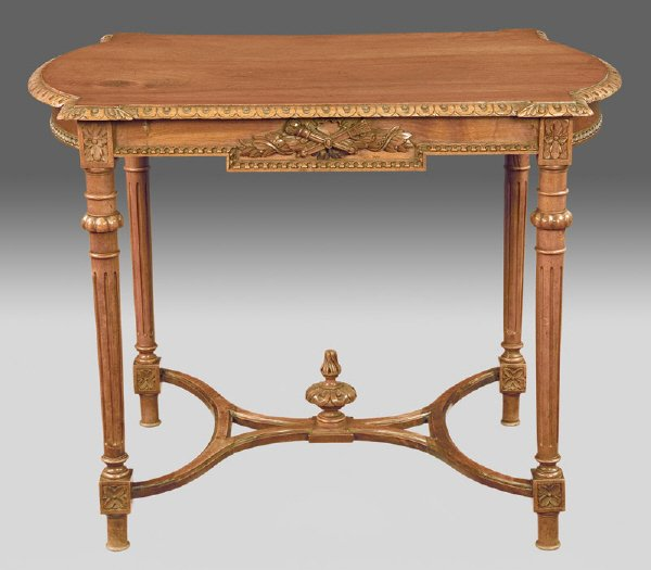 8: Louis XVI style carved walnut center table,
