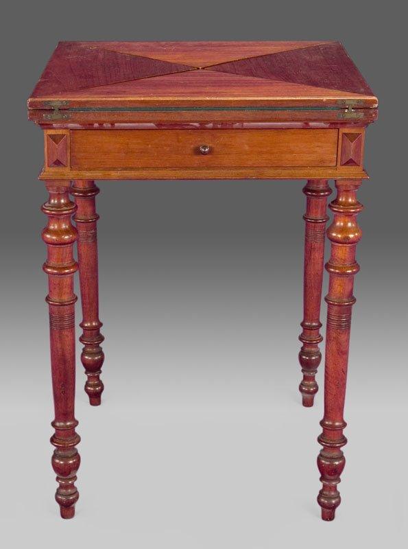 14: Edwardian mahogany handkerchief card table,