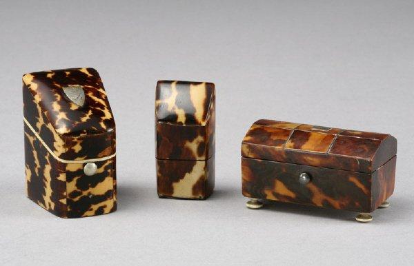 "16: (3) Miniature ""faux"" tortoise shell boxes;"