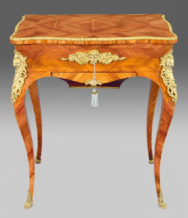 17: Louis XVI style ormolu mounted sewing table,