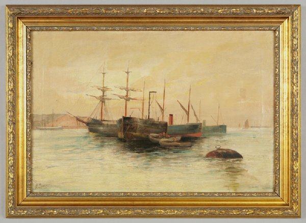 19: Continental oil painting on canvas depicting ships