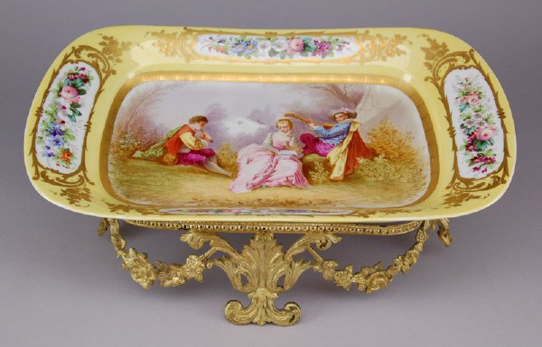20: Large Sevres style porcelain centerpiece on an