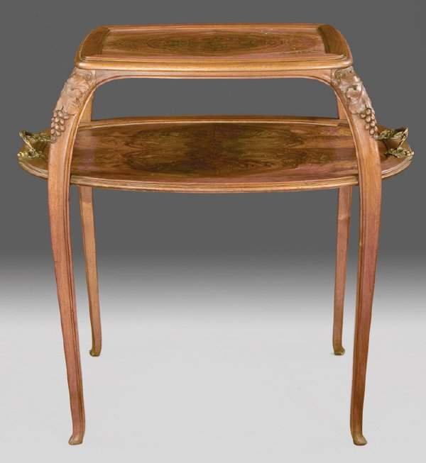 21: French Art Nouveau fruitwood 2-tier center table,