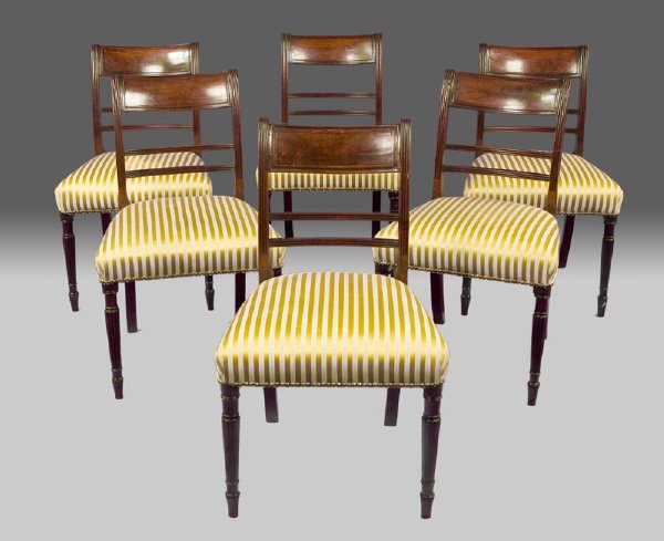 24: (6) Regency mahogany reeded crest side chairs