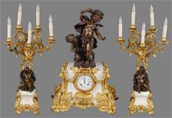 171 French Raingo Freres bronze dore clock garniture