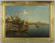 235: Continental oil painting on canvas depiction of