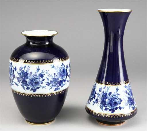 293 2 Kpm Royal Porcelain Cobalt Vases With Gilt