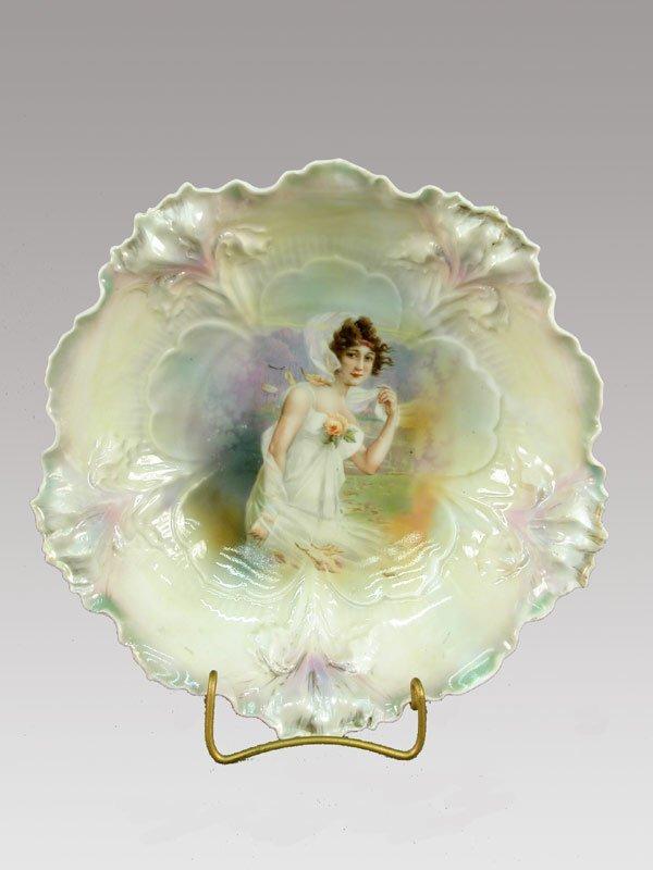 "1: R.S. Prussia (red mark) 9.5"" bowl iris mol"